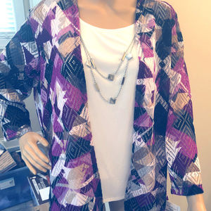 Alfred Dunner 2-pc blouse jacket & necklace sz M